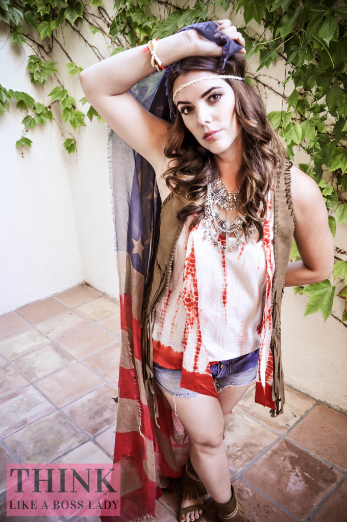 American Flag Scarf | Think Like a Boss Lady, by Lisa Tufano #americanflag #boho #hippie #july4
