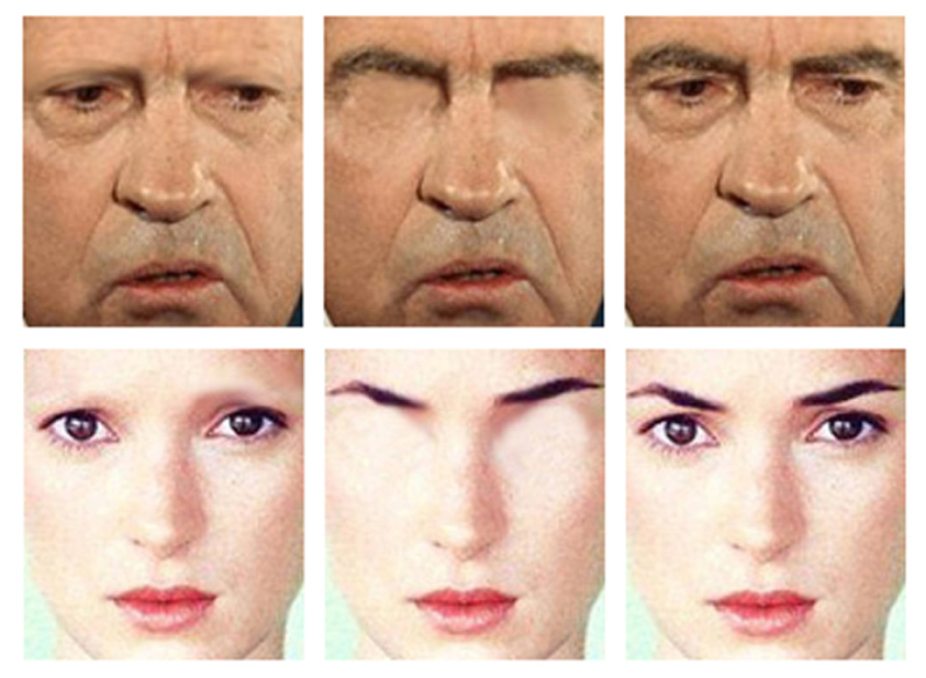 Sample stimuli from Sadr et al's (2003) experiment assessing the contribution of eyebrows to face recognition: original images of President Richard M. Nixon and actor Winona Ryder, along with modified versions lacking either eyebrows or eyes.