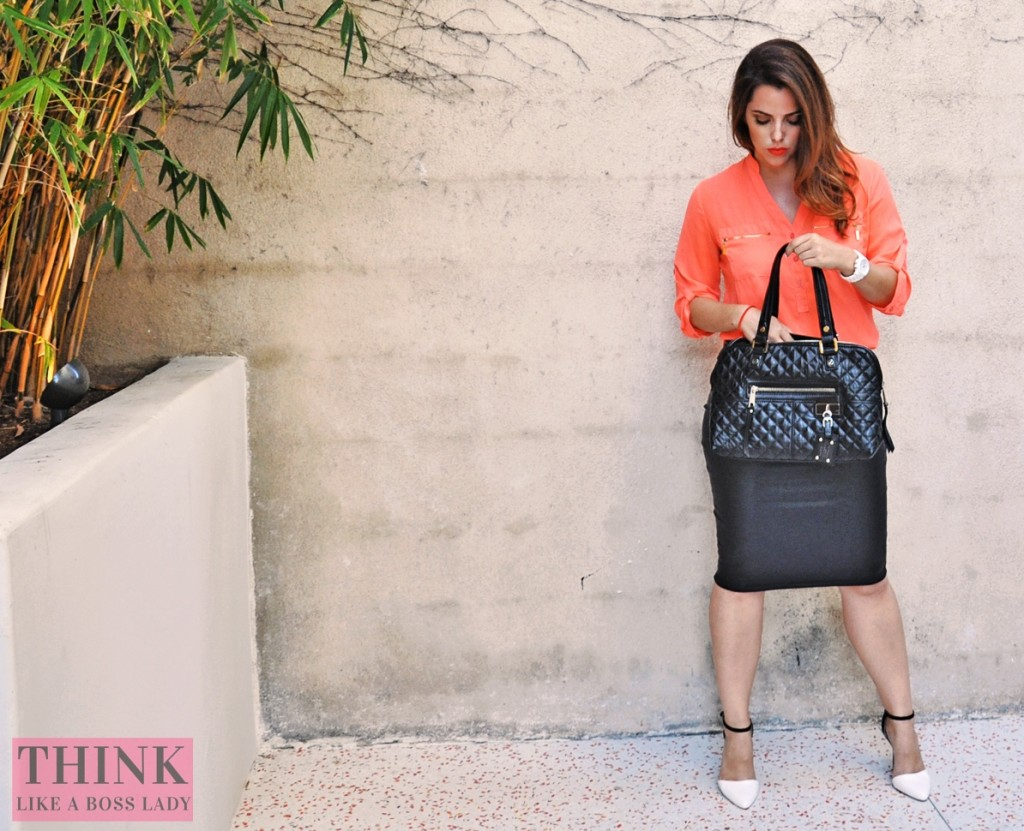 Orange You Glad? | Fashion Lookbook Idea | Think Like a Boss Lady, by Lisa Tufano | thinklikeabosslady.com #orange #fashion #fashionista #ootd #coral #leather #pleather #sexy #workattire
