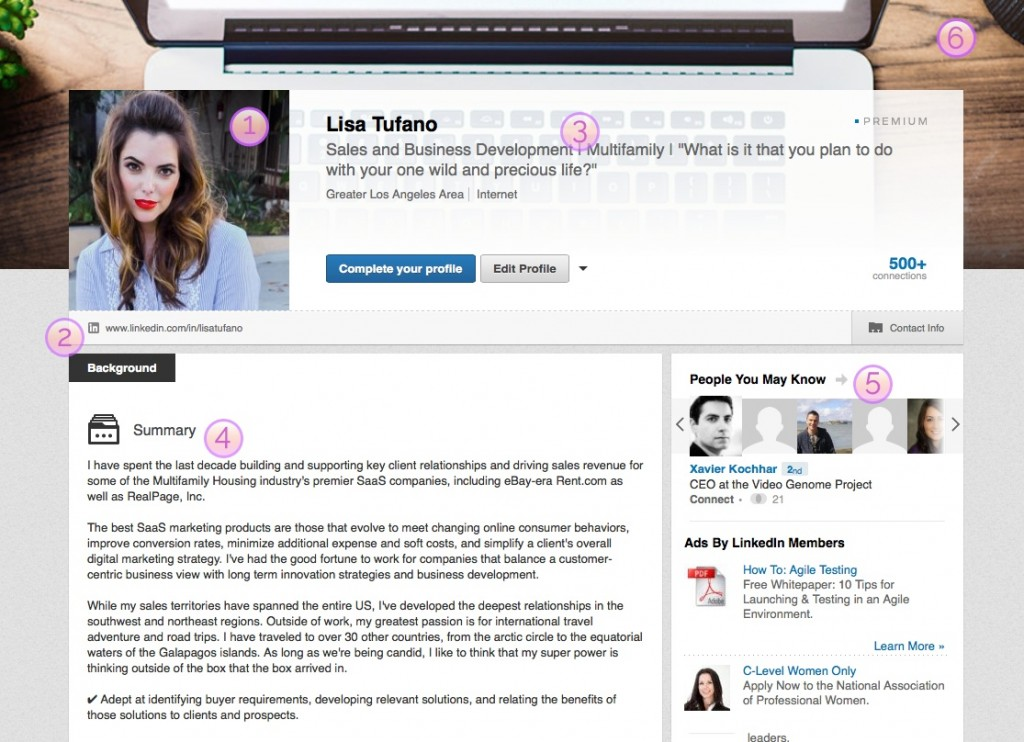 Boss Lady's Guide to Killer LinkedIn Profile Tips | Screenshot of Lisa Tufano's profile | THINK LIKE A BOSS LADY, created by Lisa Tufano | #linkedin #linkedinprofiletips #tipsandtricks #networking #personalresumetips #personalresume #networking #onlinenetworking #success #gettingajob #likeabosslady