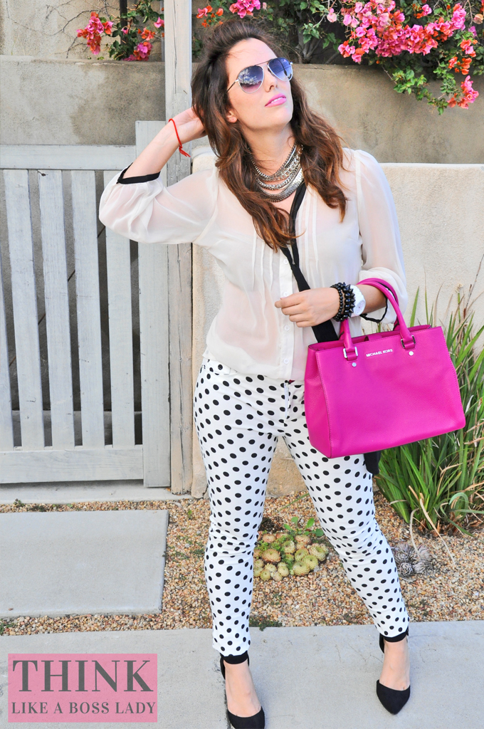B&W and Pink Polka Dot OOTD | THINK LIKE A BOSS LADY, featuring Lisa Tufano #polkadot #hotpink #windsor #michaelkors