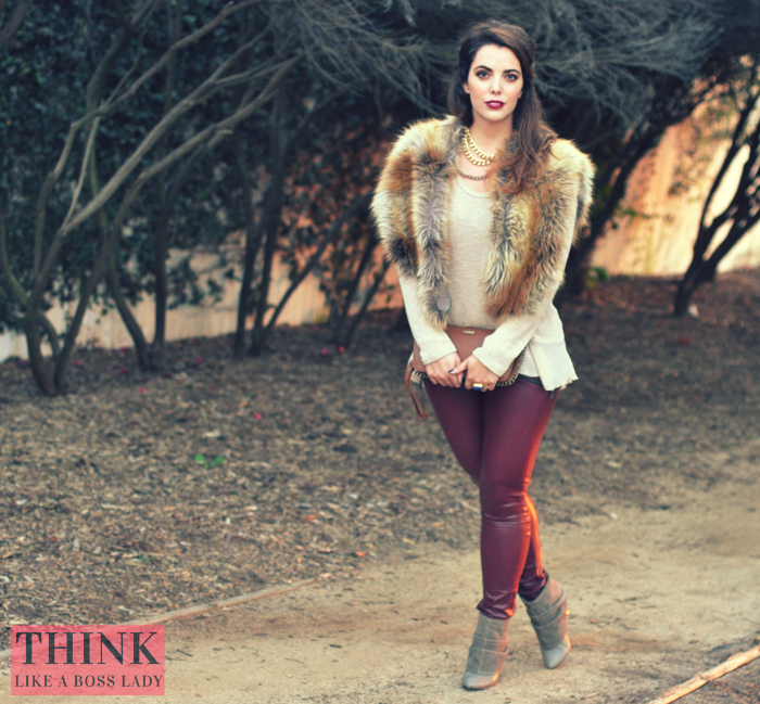 Faux Fur Cape by LuvWarrior and Oxblood Leggings | Lookbook by Lisa Tufano | THINK LIKE A BOSS LADY #fauxfur #oxblood #ootd
