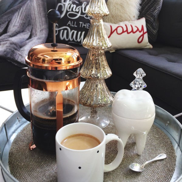 Bodum Copper French Coffee Press styled by Lisa Tufano of THINK LIKE A BOSS LADY