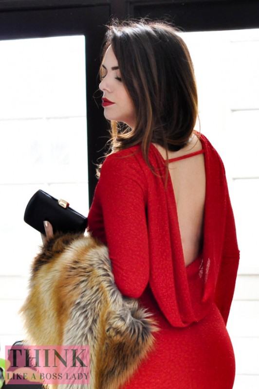 Red Glitter Cowl Back Dress from Windsor, modeled by Lisa Tufano of THINK LIKE A BOSS LADY blog