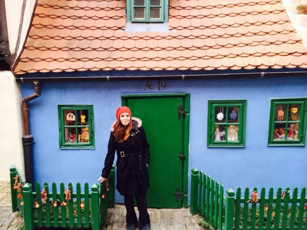 Lisa Tufano visiting Golden Lane within Prague Castle compound