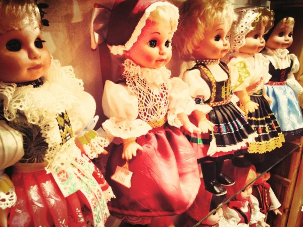 Traditional marionette puppets in a shop on Golden Lane in Prague