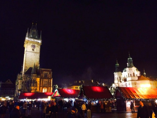 Old Town Square during Christmas markets in Prague, Czech Republic