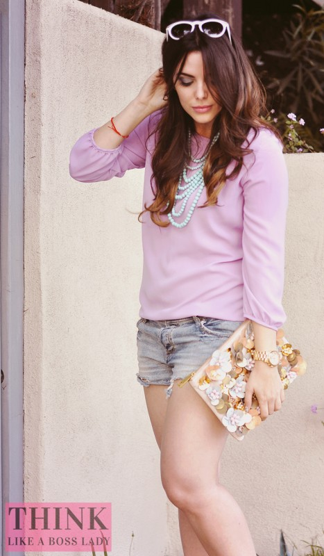 Lisa Tufano in casual lavender blouse and shorts for Easter | think like a boss lady