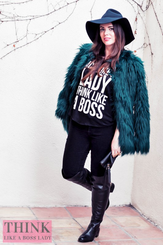 Lisa Tufano modeling furry green jacket from Bershka, over the knee leather boots, and an Act like a Lady, Think like a Boss tank top | THINK LIKE A BOSS LADY blog