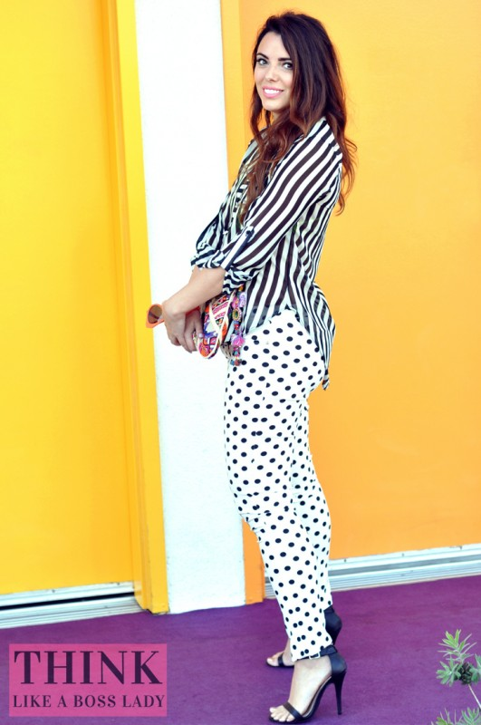 B&W Dots and Stripes in Palm Springs | styled by Lisa Tufano | thinklikeabosslady.com
