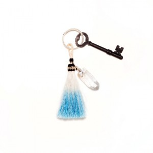 Black and Jane Tassel and Quartz Keychain