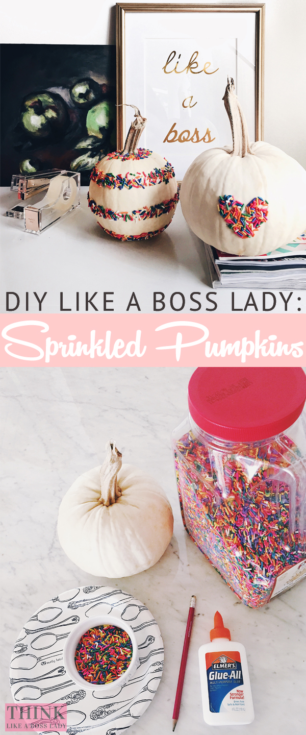 Halloween DIY like a Boss Lady: Rainbow Sprinkles Pumpkin Tutorial